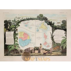 French colonies in Central America Old map Levasseur 1861