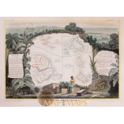 French Caribbean colonies Antique map Levasseur 1856