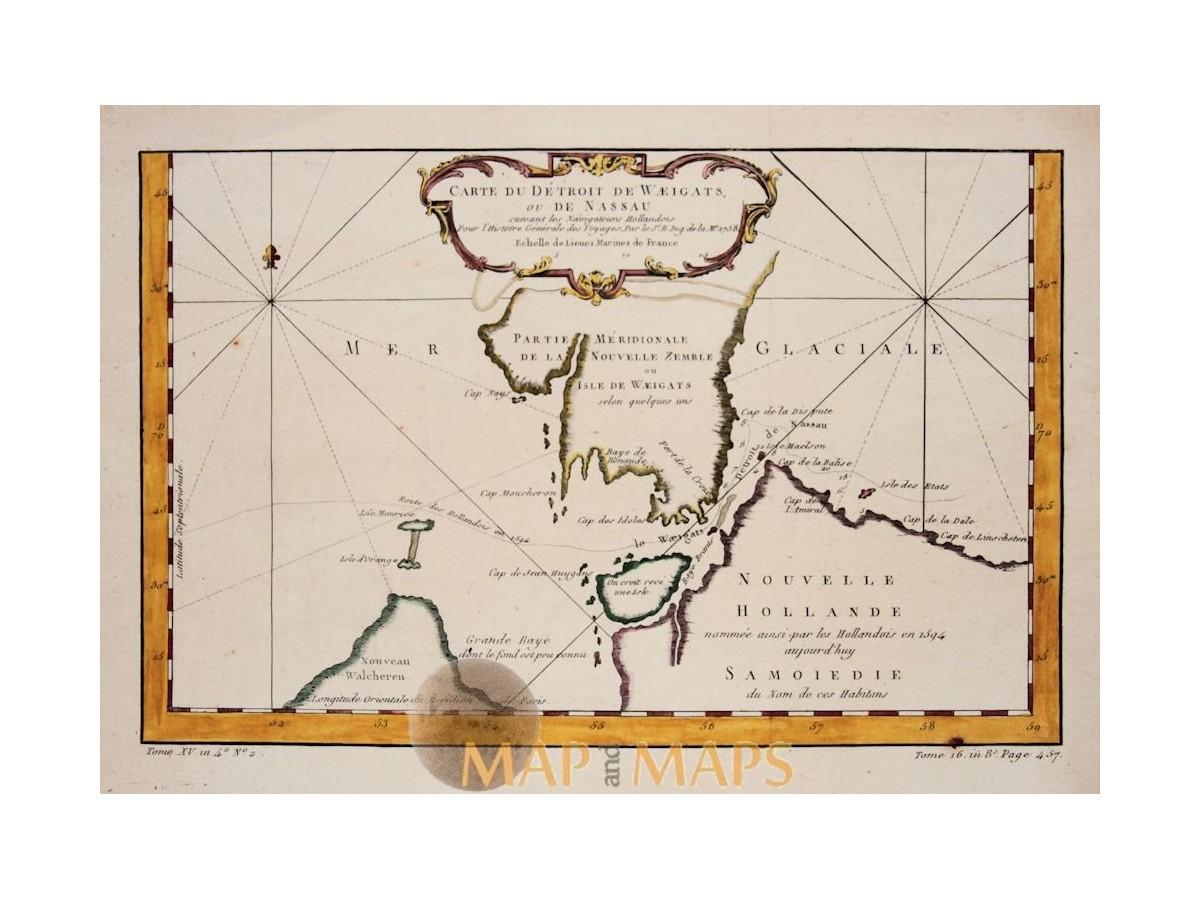 Russia map, Strait of Waeigats Novaya Zemlya Bellin 1758 on taymyr peninsula russia, franz josef land russia, astrakhan russia, nizhnevartovsk russia, nizhny novgorod russia, buryatia russia, verkhoyansk russia, kalmykia russia, herald island russia, voronezh russia, murmansk russia, arkhangelsk russia, rostov-on-don russia, tatarstan russia, pskov russia, chukchi peninsula russia, yakutsk russia, veliky novgorod russia, kazan russia, yaroslavl russia,