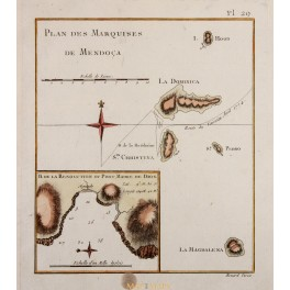 MARQUESAS ISLANDS, FRENCH POLYNESIA, VOYAGE JAMES COOK, OLD MAP 1780