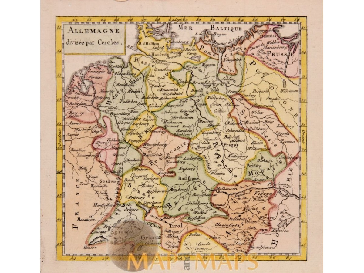 Map Of Germany Divided.Germany Divided By Circlesold Map Vaugondy 1750 Mapandmaps