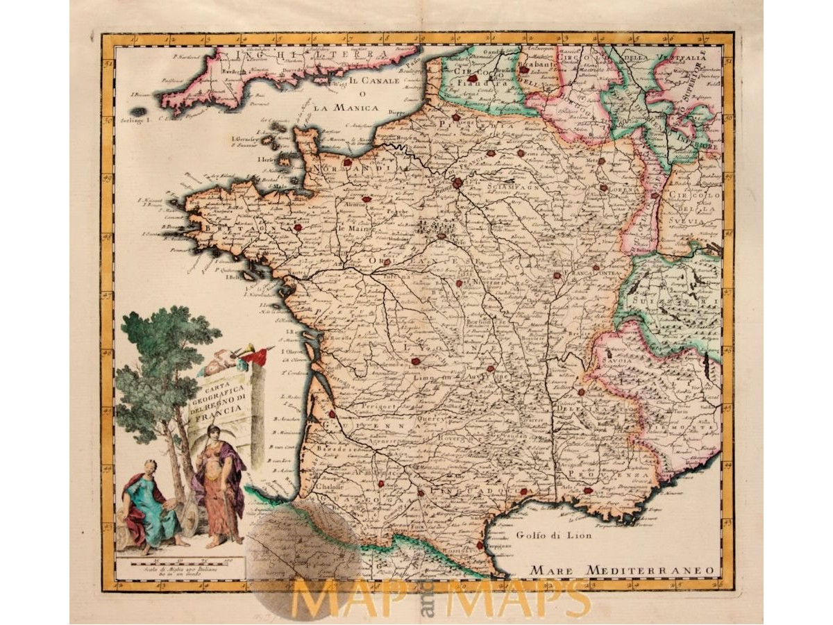 Mediterraneo Cartina Geografica.Carta Geografica Del Regno Di Francia Tirion 1775 Mapandmaps Com