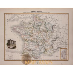 Antique map France 1789, Beginning French Revolution Historical map Migeon 1884
