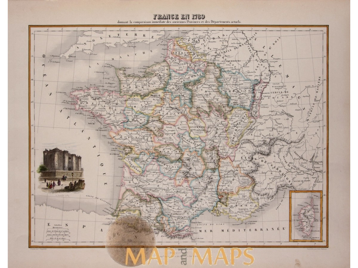 Map Of France In 1789.French In 1789 Antique Map France By Migeon 1884 Mapandmaps