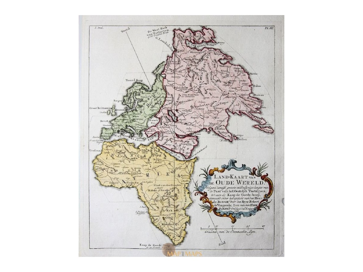 Old World Continents Europe Africa Asia Rare Vaugondy Map Mapandmaps