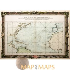 World Continents antique map Carte Reduite de L'Ocean Desnos 1761