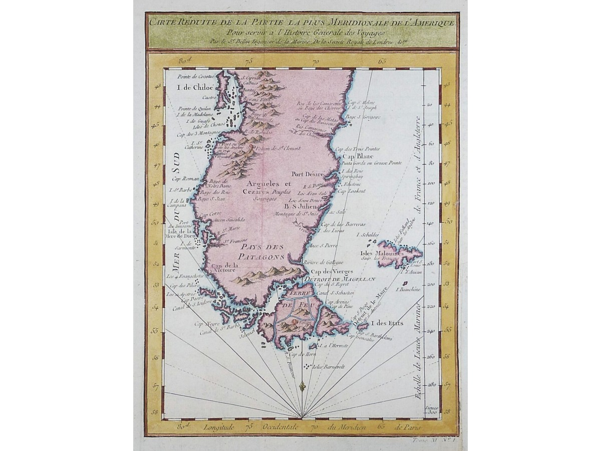 Cape Horn Antique maps South America by Bellin 1754 ...