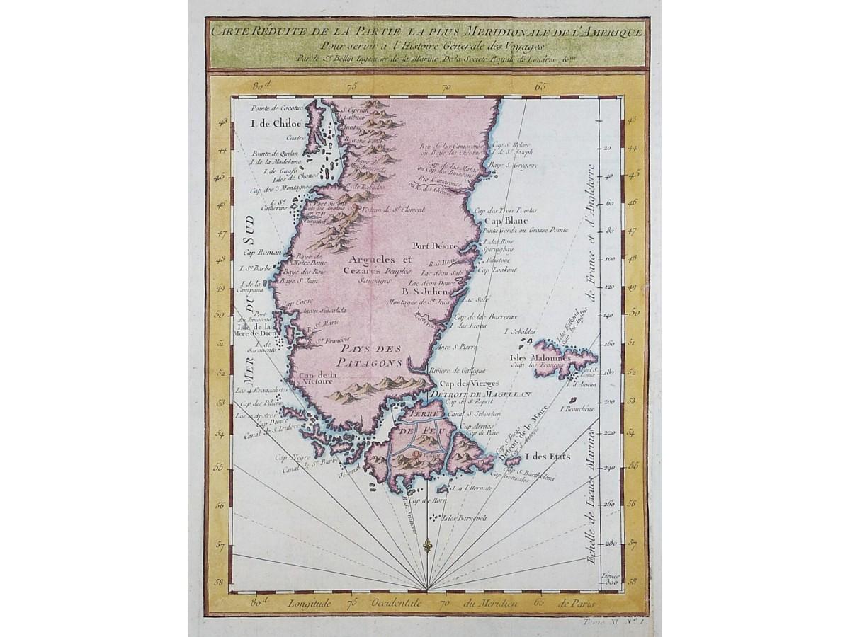 Cape Horn On South America Map.Meridionale De L Amerique Old Map By Bellin Mapandmaps