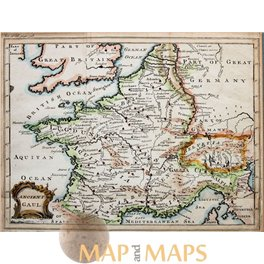 Map Of Western France.Ancient Gaul Antique Map Western Europe Cellarius 1752