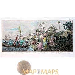 Débarquement à Middelburgh Friendly Islands engraving Cook 1778