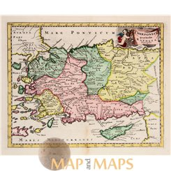 Anatolia Turkey Cyprus map Natolia descripto by Cluver 1697