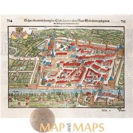 Switzerland woodcut Statt Solothurn Sebastian Munster 1628