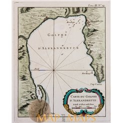 Gulf Alexandrette İskenderun Turkey Sea chart Bellin 1764