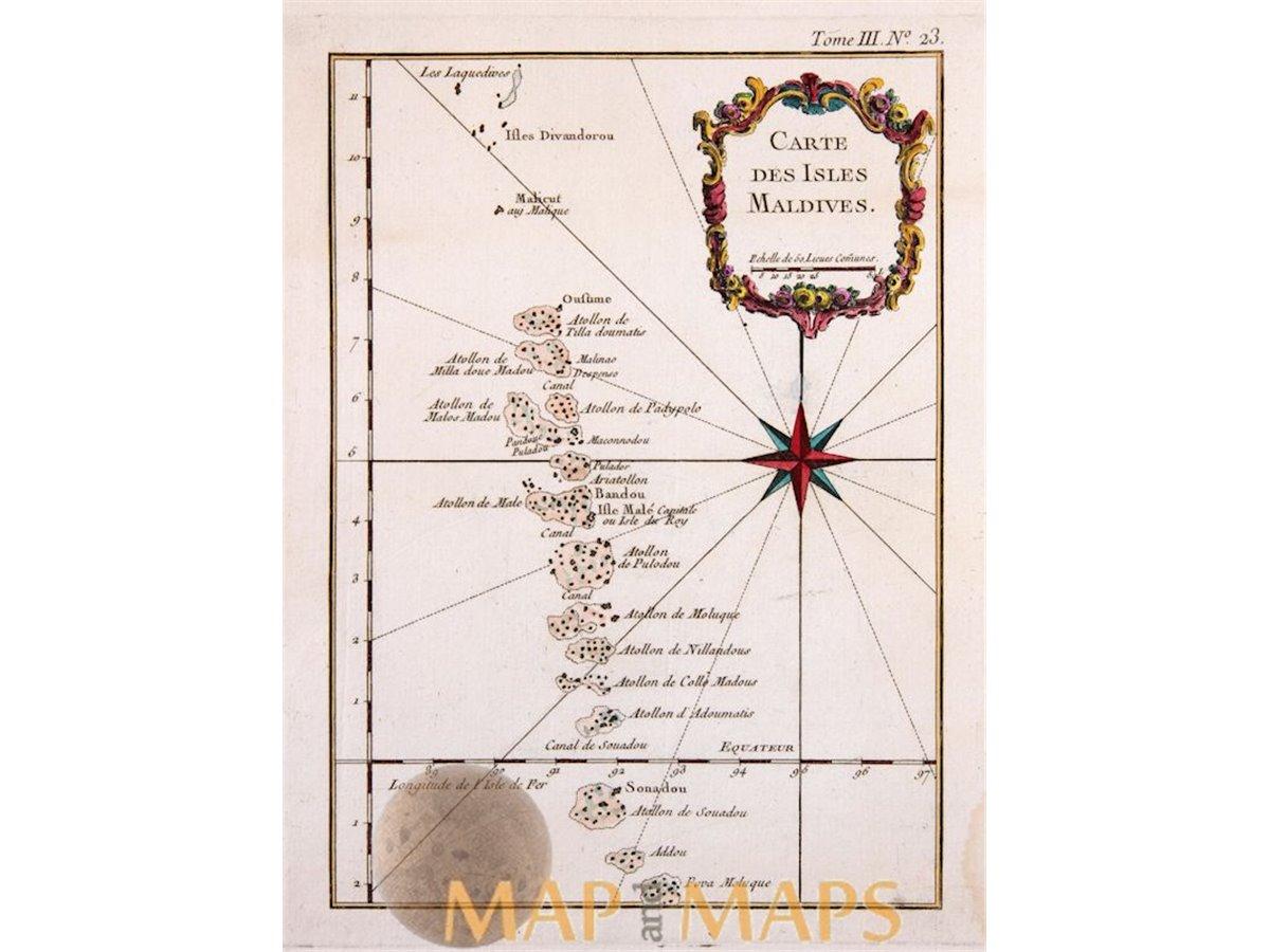 Maldives Islands Old Map Carte Des Isles Maldives Bellin 1764