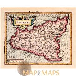 Sicilia. Old map Italy Sicily Mercator Hondius 1634