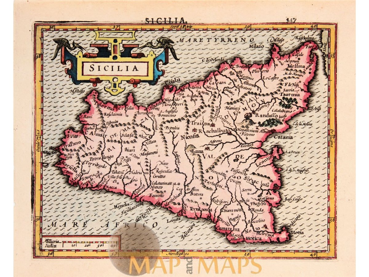Details about Sicilia. Old map Italy Sicily Mercator Hondius 1634