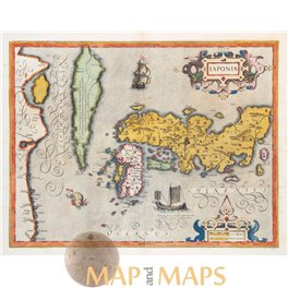 IAPONIA Old antique map of Japan Korea by Mercator 1623