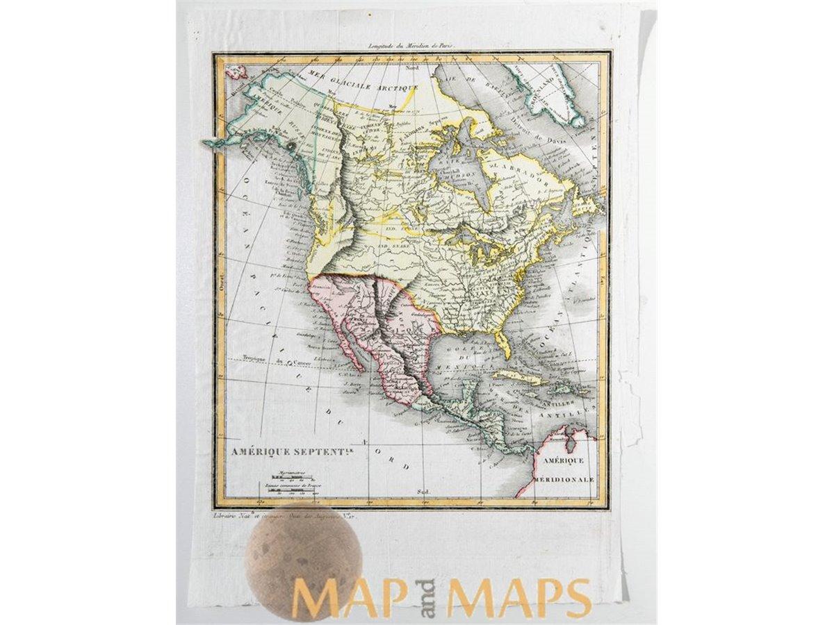 North America map Canada Mexico Cuba Vosgien 1823 ...