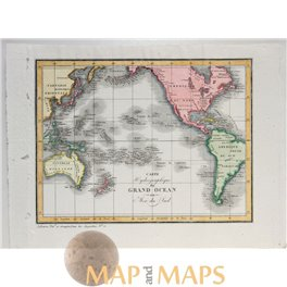 South Pacific Ocean Map Australia New Zealand Vosgien 1823