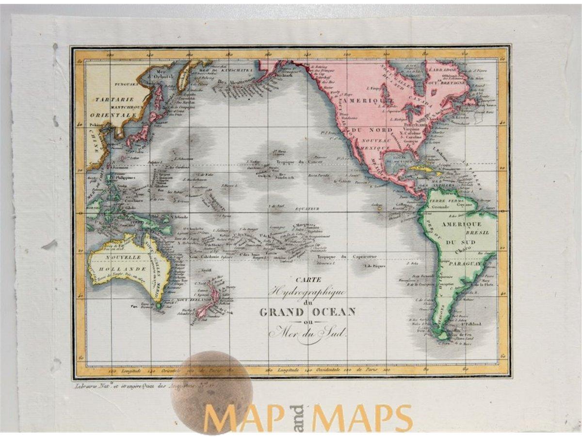 South Pacific Ocean Map Australia New Zealand Vosgien 1823