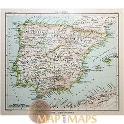Antique map Hispania, Spain by Justus Perthes 1893