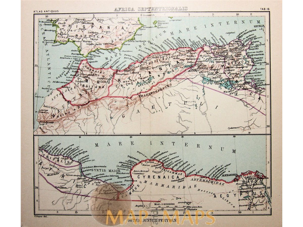 Antique map North Africa, Africa Septentrionalis by Justus Perthes ...