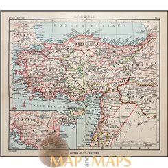 Turkey Cyprus antique map Asia Minor Justus Perthes 1893
