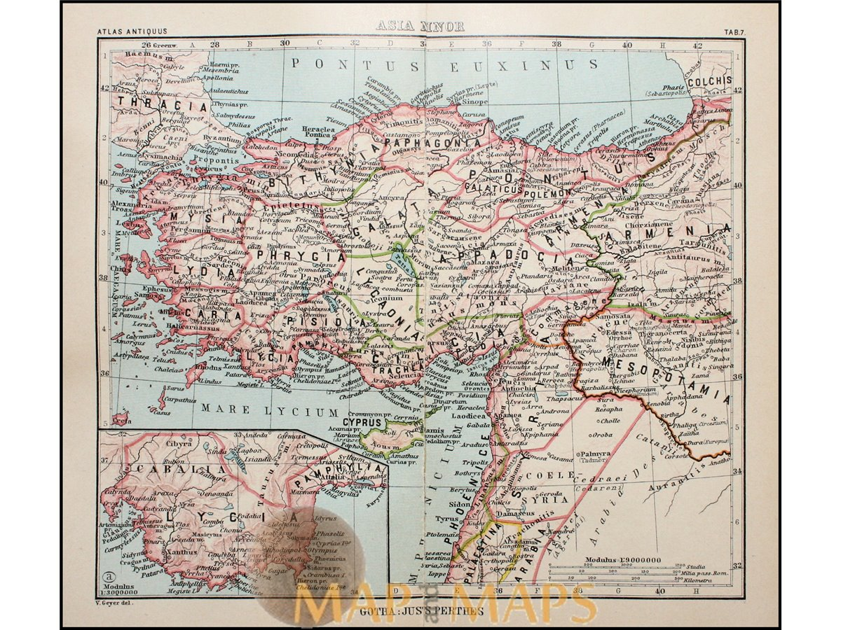 Turkey Antique Map Asia Minor Justus Perthes 1893 Mapandmaps