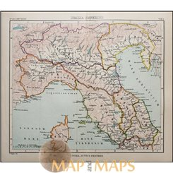 Antique map North Italy, Corsica Atlas antiques by Justus Perthes 1893