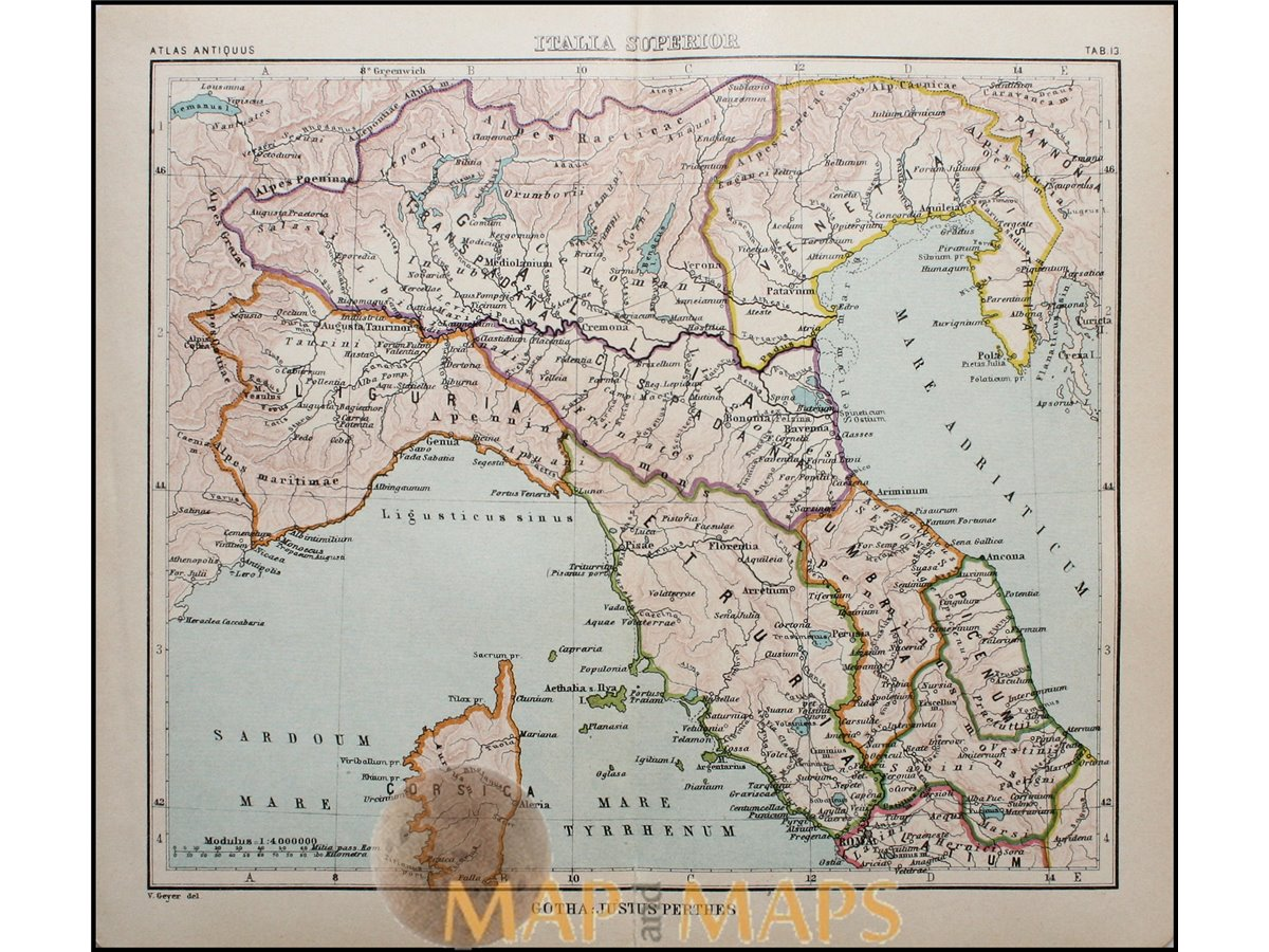 North Italy Antique Map Italia Superiour Justus Perthes Mapandmaps