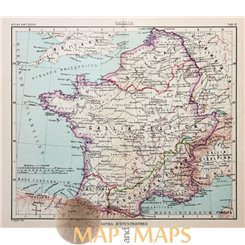 Antique map Ancient world, Gallia, France, Belgium, Romana by Justus Perthes 1893