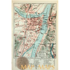 Koblenz Antique Town City Plan Germany 1892