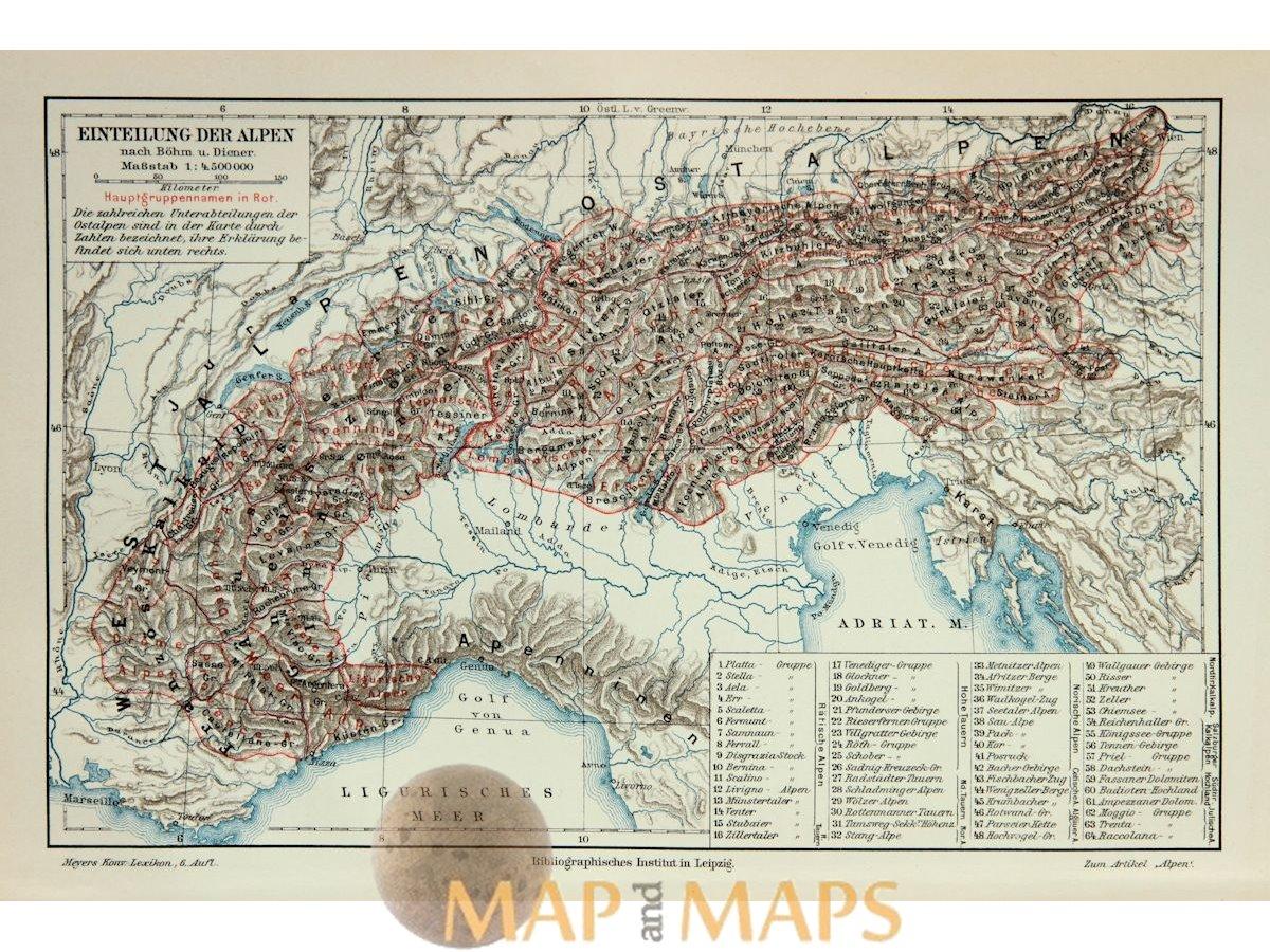 1892 Map Of The World.Eintelung Der Alpen Europe Alps Antique Map Meyer 1892 Mapandmaps