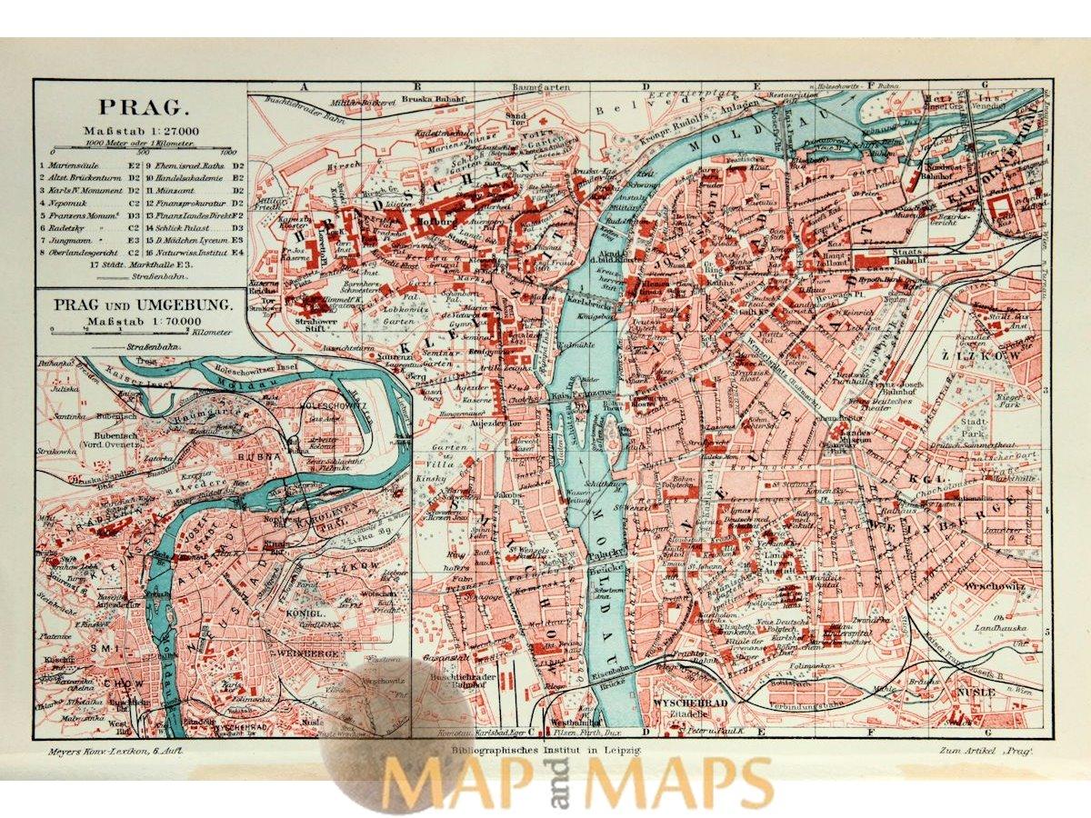 Prague (Czech Republic) Antique map Meyer 1892