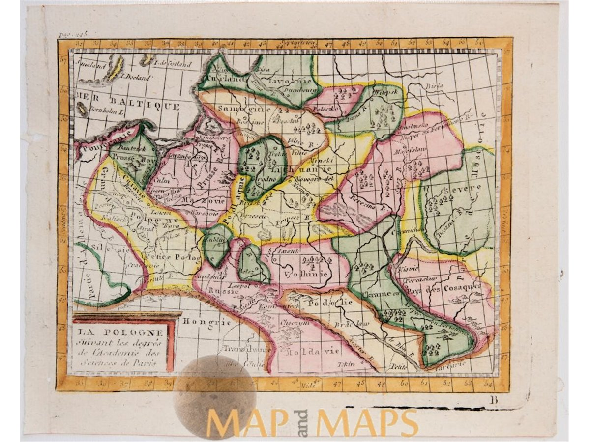 Poland La Pologne Antique Old Atlas Map Buffier 1744 Mapandmaps
