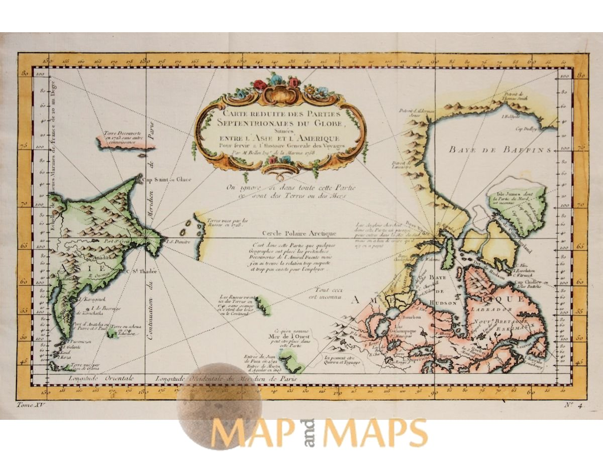 North America Canada Voyages Antique map Septentrionales du Globe by Bellin  1759