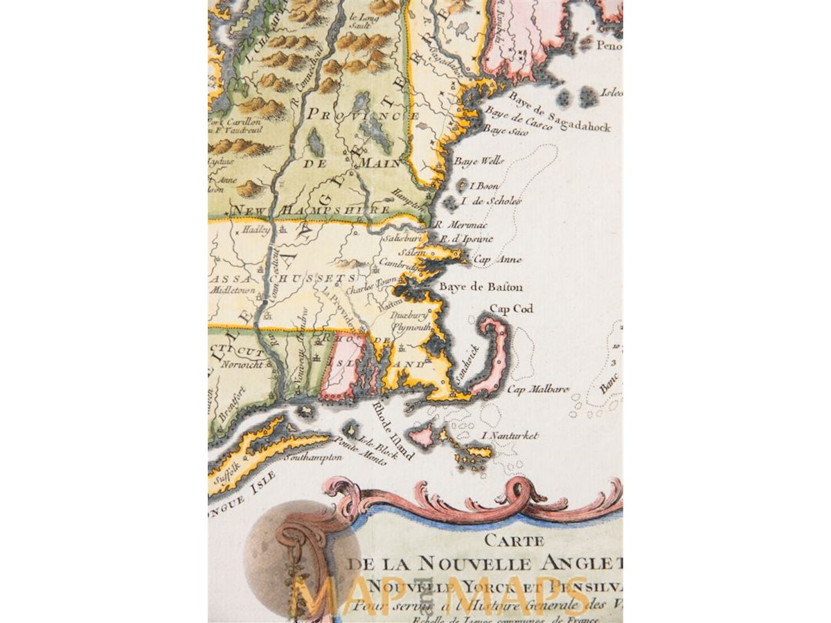 Carte Angleterre Maps.Carte Nouvelle Angleterre Map Of New England New York Bellin 1757