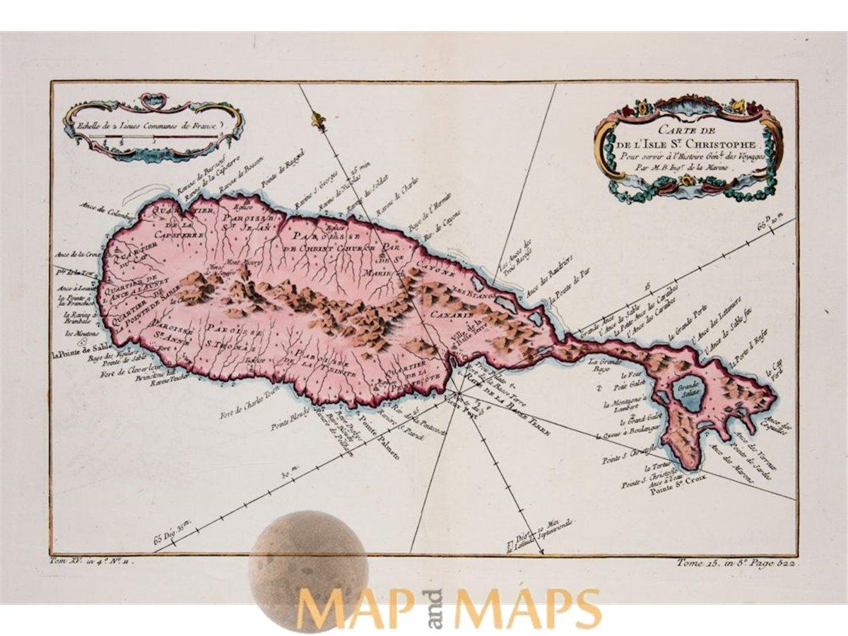 Saint Christopher Island, antique map St. Kitts Bellin | Mapandmaps