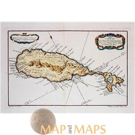 St. Christophe Island West Indies antique maps by Bellin 1758