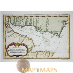 ARGENTINIA RIVER DE LA PLATA SOUTH AMERICA BY BELLIN 1755
