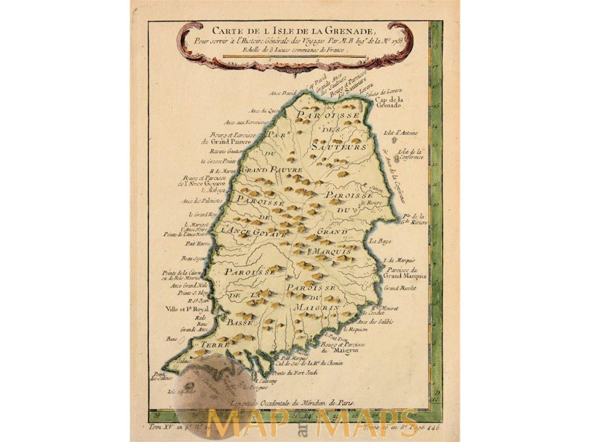 Granade Island, antique map, Caribbean Sea, Bellin1758 - MapandMaps.com
