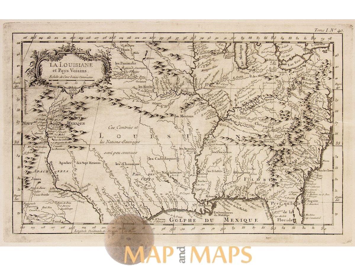 North Louisiana Map.Maps Of North America Louisiana La Louisiane By Bellin Mapandmaps