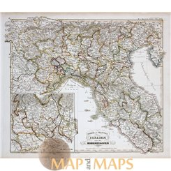 KINGDOMS ITALY ORIGINAL ANTIQUE MAP - KARL SPRUNER 1846