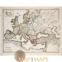 Antique historical map Europe in the second half of X century. Karl Spruner 1846