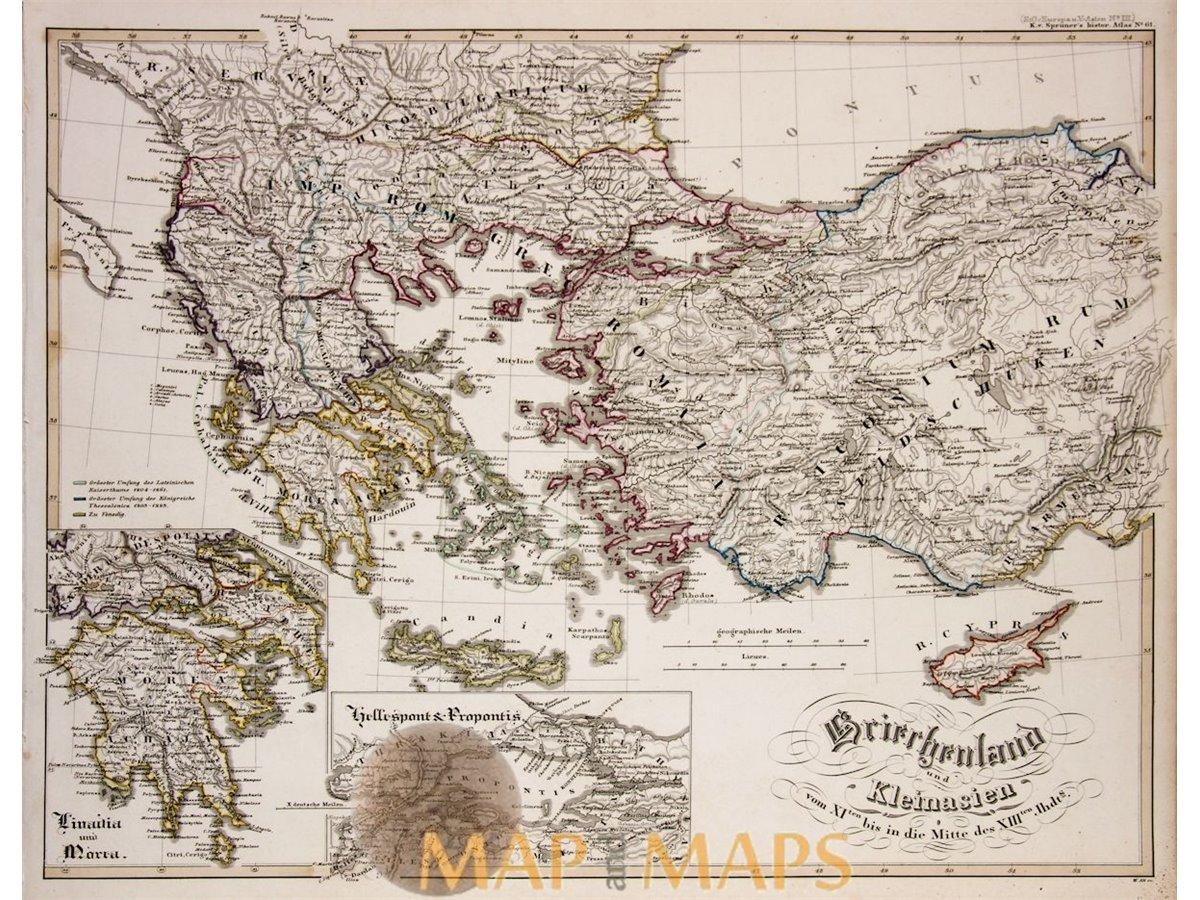 GREECE TURKEY CYPRUS ORIGINAL ANTIQUE MAP KARL SPRUNER 1846 ...