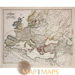 Antique map, Europe at the time of Charlemagne, by Karl Spruner 1846