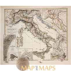 ITALY SICILIA SARDINIA -ORIGINAL ANTIQUE MAP - SPRUNER 1846