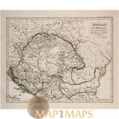 KINGDOM HUNGARY in RELIGIONS - ORIGINAL ANTIQUE MAP - KARL SPRUNER 1846