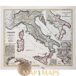 EMPEROR ITALY& LOMBARDS ORIGINAL ANTIQUE MAP - KARL SPRUNER 1846