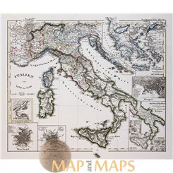 KINGDOMS ITALY 1270-1450/NAPELS/FLORENS/ORIGINAL ANTIQUE MAP - SPRUNER 1846